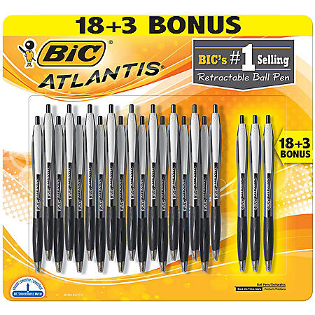 BIC Atlantis Original Retractable Ballpoint Pen, Medium, 1mm, Blue, 18 + 3pk