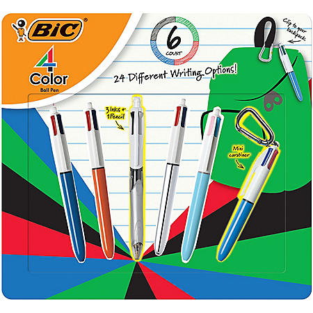 BIC 4-Color Ball Pen Pack, Assorted Colors, 6 Count