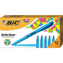 BIC® Brite Liner Highlighter, Chisel Tip, Fluorescent Blue, 12ct.