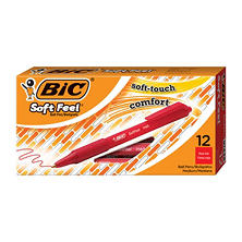 BIC® Soft Feel Retractable Ballpoint Pen, 1mm, Medium, Red Ink, 12ct.
