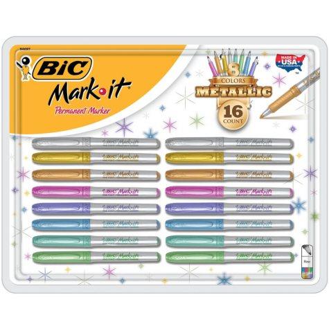 BIC Mark-It Permanent Marker Metallics, Assorted Colors, 16 Count