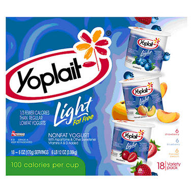 Yoplait Light Yogurt Variety Pack (6 oz. ea., 18 ct.)
