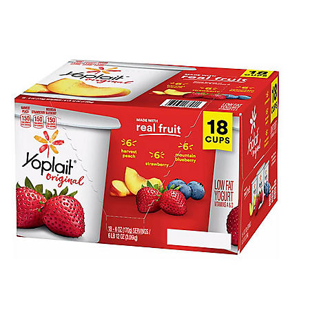 Yoplait Original Strawberry, Mountain Berry, Harvest Peach Yogurt Variety Pack (6 oz., 18 pk.)