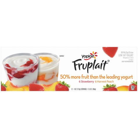 Yoplait Fruplait Strawberry/Harvest Peach Low Fat Yogurt Variety Pack (4 oz., 12 pk.)