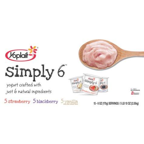 Yoplait® Simply 6 Yogurt, Variety Pack - 15 pk.