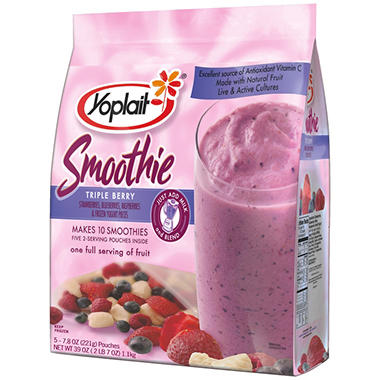 Yoplait Frozen Triple Berry Fruit Smoothie (7.8 oz., 5 ct.)