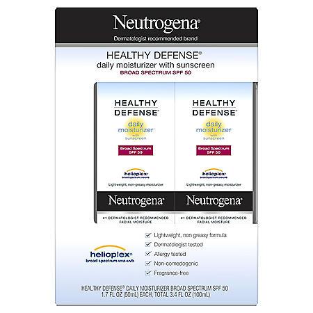 Neutrogena Healthy Defense Daily Moisturizer with Broad Spectrum SPF50 Sunscreen (1.7 fl. oz., 2 pk.)