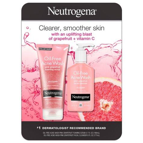 Neutrogena Oil-Free Acne Wash Variety Pack, Pink Grapefruit (6.7 fl. oz. Scrub & 6 fl. oz. Cleanser)