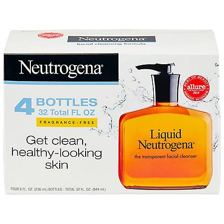 Liquid Neutrogena Fragrance-Free Facial Cleanser (8 fl. oz., 4 pk.)