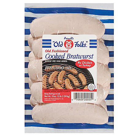 """Purnell's """"Old Folks""""® Old Fashioned Cooked Bratwurst - 32 oz."""
