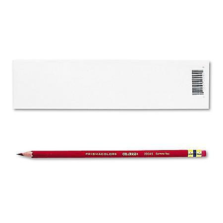 Prismacolor Col-Erase Pencil with Eraser, Carmine Red - 12 Pencils