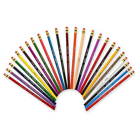 Prismacolor Col-Erase Colored Woodcase Pencils with Eraser - 24 Pencils