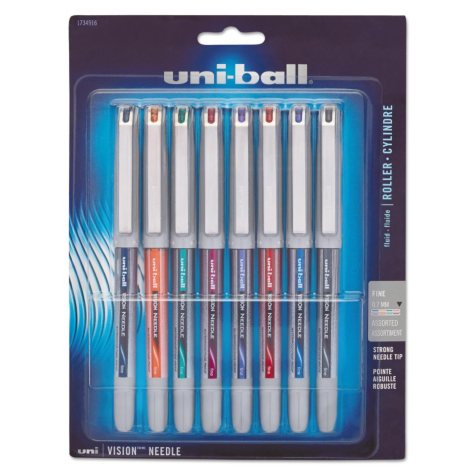 uni-ball - Vision Needle Roller Ball Stick Liquid Pen, Assorted Ink, Fine - 8 Pens