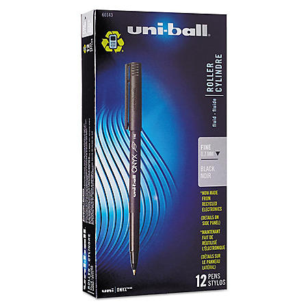 uni-ball - Onyx Roller Ball Stick Dye-Based Pen, Black Ink, Fine -  Dozen