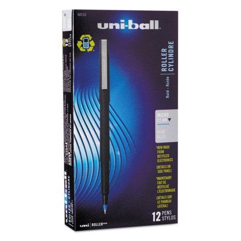 uni-ball - Roller Ball Stick Dye-Based Pen, Blue Ink, Micro -  Dozen
