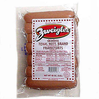 Zweigle's Skinless Texas Hots Franks (3 lb.)