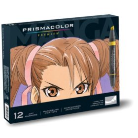 Prismacolor Premier Double-Ended Art Markers, Fine and Chisel Tip, Manga Colors, 12 Pack