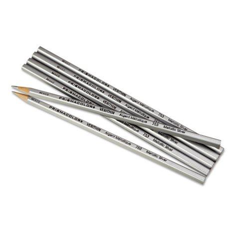 Prismacolor - Verithin Colored Pencils, Metallic Silver -  Dozen
