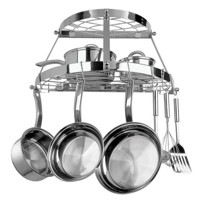 2Shelf SemiCircle Stainless Steel WallMounted Pot Rack Sams Club