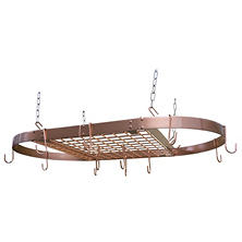 Oval Copper Ceiling Hanging Cookware Storage Pot Rack