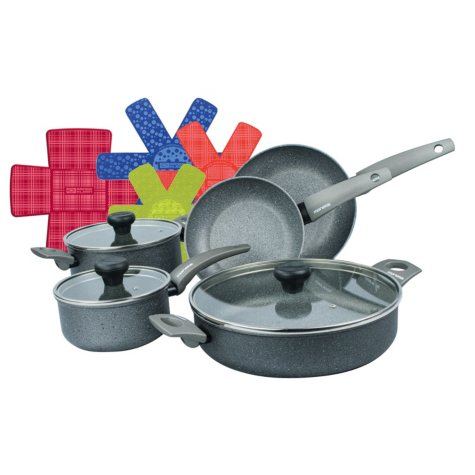 8-Piece Greystone Cookware Pan Set with Artech® Stone Non-Stick Coating and Bonus Cookware Protectors