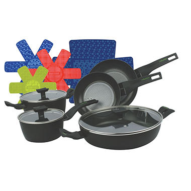 8-Piece Nova Cookware Pan Set with Protection Base Non-Stick Coating and Bonus Cookware Protectors