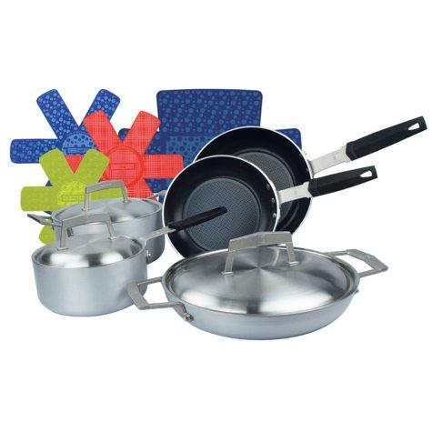 Moneta 8-Piece PRO Brushed Aluminum Cookware Pan Set with Bonus Cookware Protectors
