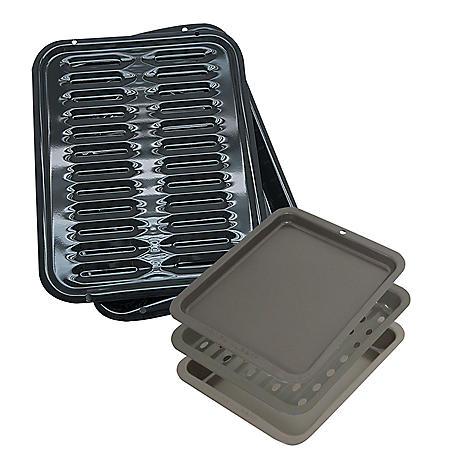 Range Kleen 5-Piece Multi-Use Large Porcelain Broiler Pan and Toaster Oven Bakeware