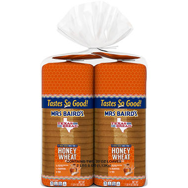 Mrs. Baird's Honey Wheat Bread - 20 oz. Loaf - 2 pk.