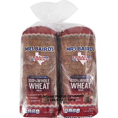 Mrs. Baird's 100% Whole Wheat Bread - 20 oz. Loaf - 2 pk.