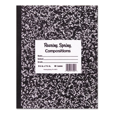 Roaring Spring Marble Cover Composition Book, Wide Rule, 8-1/2 x 7, 48 Pages