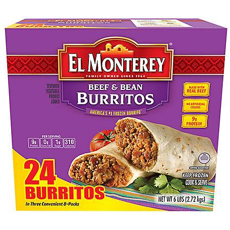 El Monterey Classic Beef and Bean Burritos, Frozen (24 ct.)