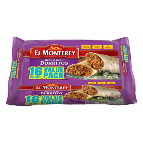 El Monterey Beef and Bean Burritos (16 ct.)