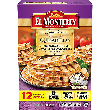 El Monterey Charbroiled Chicken and Monterey Jack Cheese Quesadillas, Frozen (12 ct.)