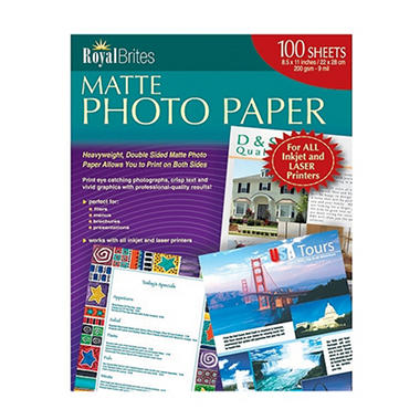 Royal Brites Photo Paper Inkjetlaser 8 12 X 11 Matte 100