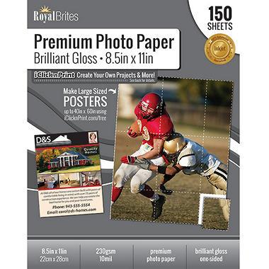 Royal Brites Glossy Photo Paper 85 X11 150 Ct Sams Club
