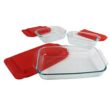 Pyrex Sculpted Baking Dishes with Lids, 6-Piece Set