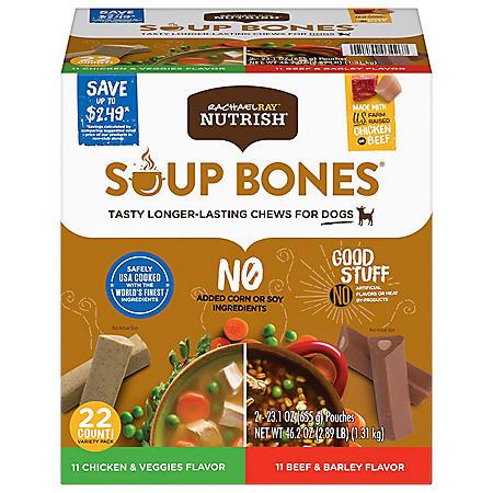 Rachael Ray Nutrish Soup Bone Dog Treat Variety Pack, Beef & Chicken (22 ct.)