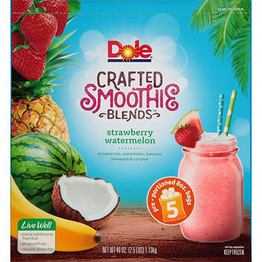 Dole Crafted Smoothie Blends Strawberry Watermelon 5 Ct 8 Oz
