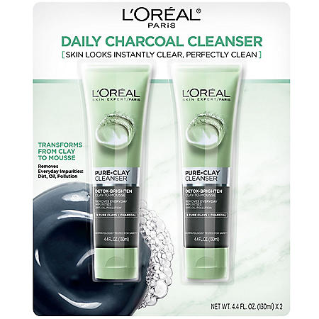 L'Oreal Paris Pure-Clay Cleanser, Detox-Brighten (4.4 fl. oz., 2 pk.)
