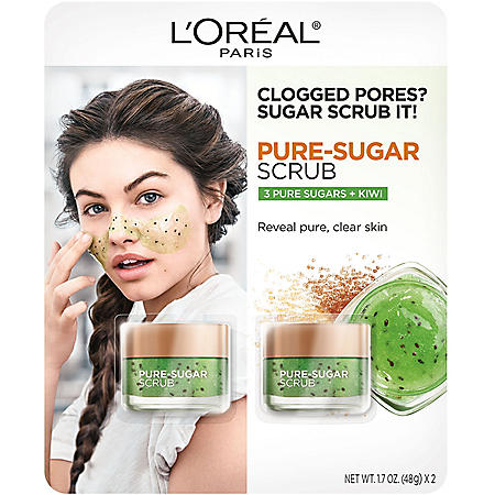 L'Oreal Paris Pure Sugar Scrub, 3 Pure Sugars + Kiwi (1.7 oz., 2 pk.)
