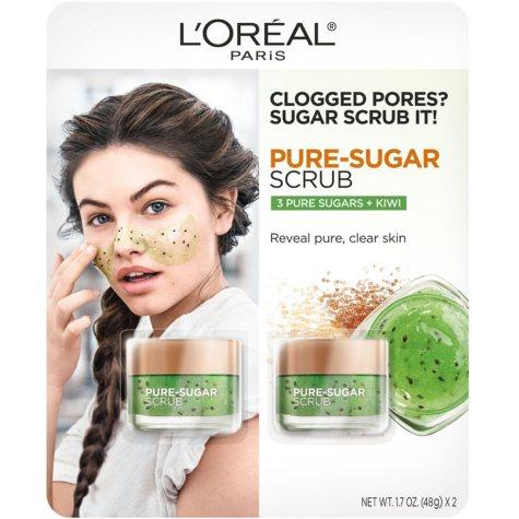 L'Oreal Paris Pure Sugar Scrub, 3 Pure Sugars + Kiwi (1.7 oz., 2 pk.)
