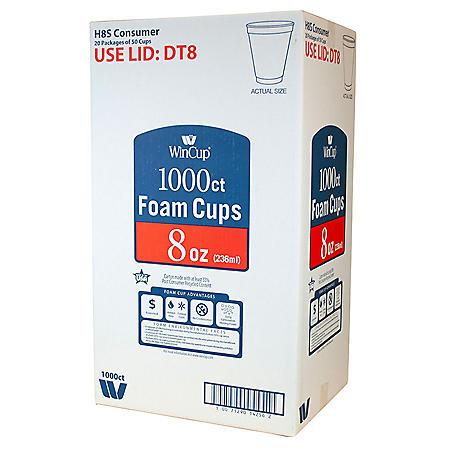 WinCup Foam Cups (8oz., 1000ct.)