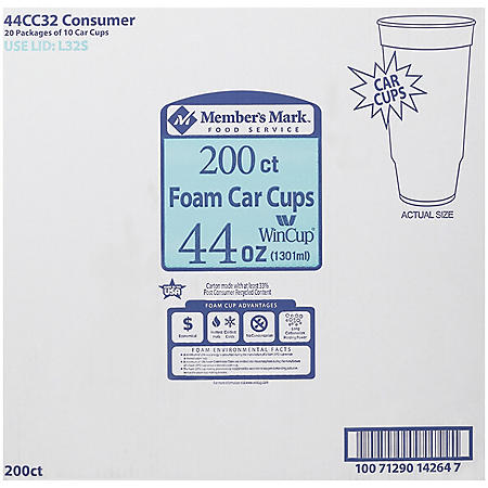 WinCup Foam Car Cups, 44 oz. (200 ct.)