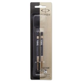 Parker - Refill for Gel Ink Roller Ball Pens, Medium, Black Ink - 2 Pack