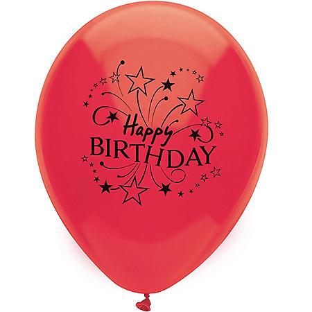 "PartyMate USA 12"" Printed Latex Balloons, Birthday (50 ct.)"