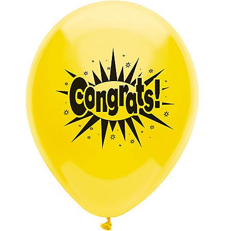 """PartyMate USA 12"""" Printed Latex Balloons, Congrats (50 ct.)"""