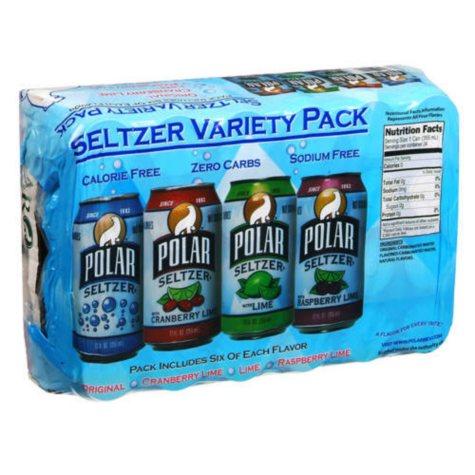 Polar Seltzer Variety Pack (12 oz. cans, 24 pk.)