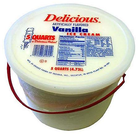 Delicious® Vanilla Ice Cream - 5 qt. bucket