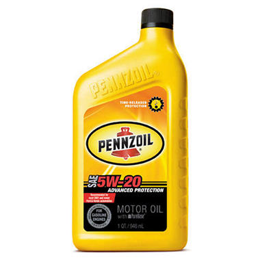 Pennzoil 5w 20 motor oil 12 pack 1 quart bottles sam for Quart of motor oil